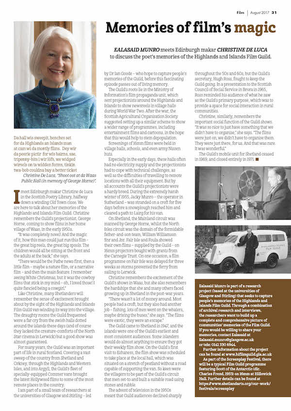 Scan of the first page of a magazine article in Shetland Life, August 2017 edition, written by Ealasaid Munro featuring a discussion with Christine de Luca on her memories of the Highlands & Islands Film Guild project in Shetland