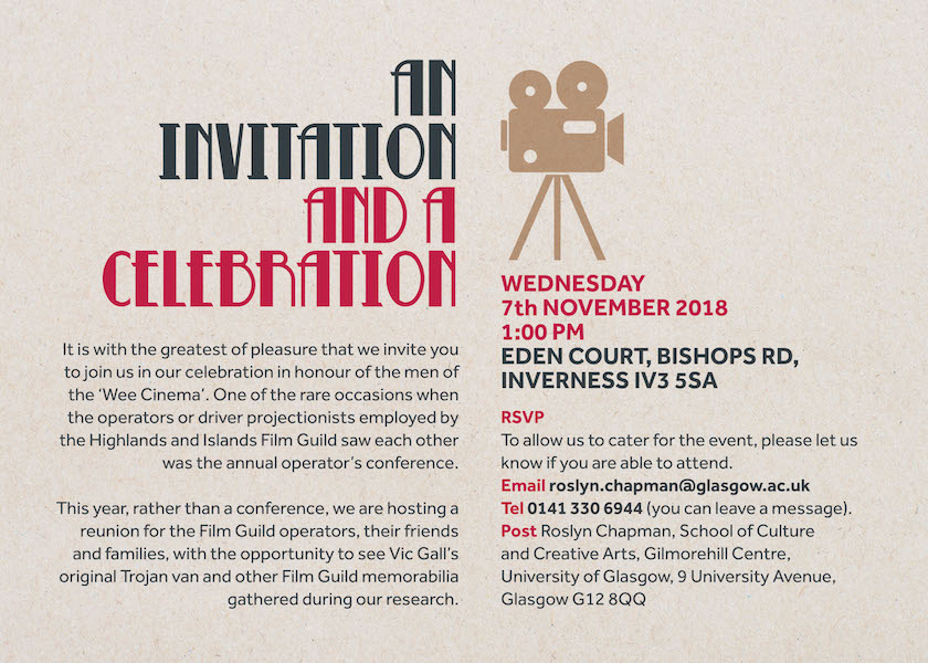 Back cover of the invitation to the reunion event for Film Guild operators at the Inverness Film Festival in November 2018